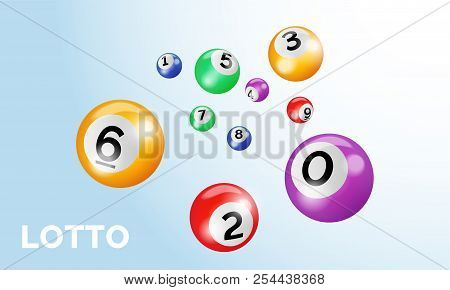 Bingo Lotto Balls With Numbers For Keno Lottery Gamble Game Vector Poster Template On White Blue Bac