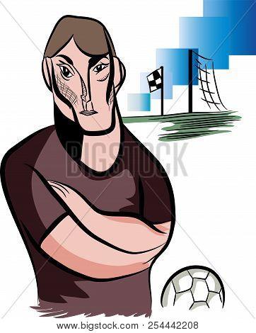 Senior Football Coach.  Illustration Of Standing Football Coach In The Football Field.
