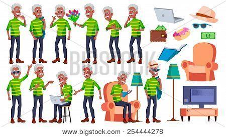 Old Man Poses Set Vector. Black. Afro American. Elderly People. Senior Person. Aged. Active Grandpar