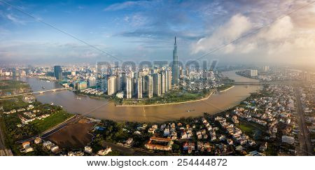 Aerial View Of Ho Chi Minh City Skyline And Skyscrapers In Center Of Heart Business At Ho Chi Minh C