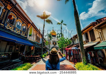 Young Woman Traveler Traveling Into The Masjid Sultan Mosque Located In Kampong Glam In Singapore Ci