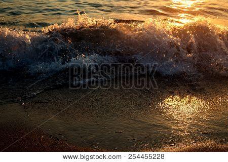 Sunset. Beautiful Sunset Black Sea. Gold Sea Sunset. Sunset Sea Waves. Summer Sunset.
