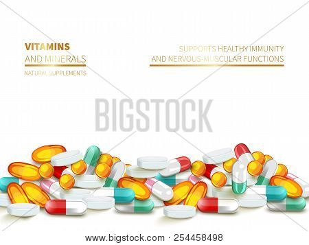 Horizontal Border From Colorful Pills And Capsules