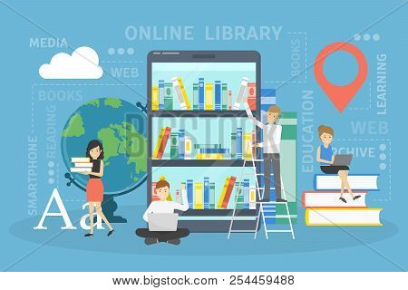 Online Library Concept. Using Phone For Learning