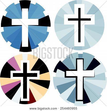 Set Of Color Christian Cross. Faith And Religion. Vector Illustration