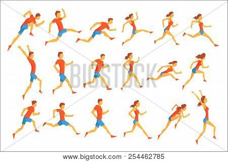 Male Sportsman Running The Track With Obstacles And Hurdles In Red Top Blue Short In Racing Competit
