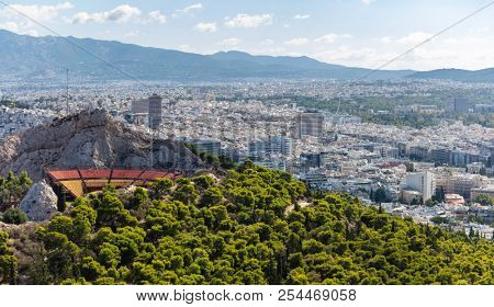 Athens, Greece. Lycabettus hill and open air theatre, Athens city general view from above