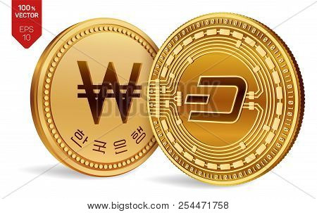 Dash. Won. 3d Isometric Physical Coins. Digital Currency. Korea Won Coin. Cryptocurrency. Golden Coi