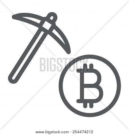 Bitcoin Mining Line Icon, Money And Finance, Cryptocurrency Mining Sign, Vector Graphics, A Linear P