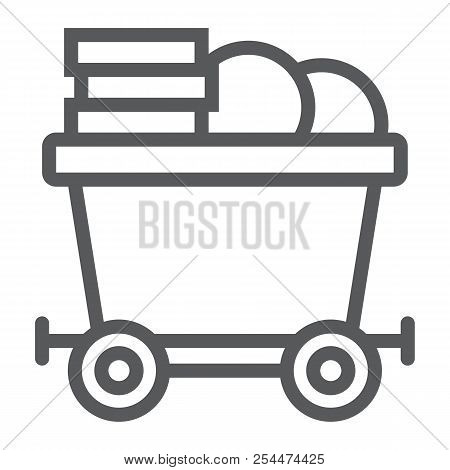 Coins On Mine Trolley Line Icon, Finance And Money, Bitcoin Mining Trolley Sign, Vector Graphics, A
