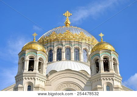 Naval Cathedral of St. Nicholas the Wonderworker in Kronstadt, Russia. poster