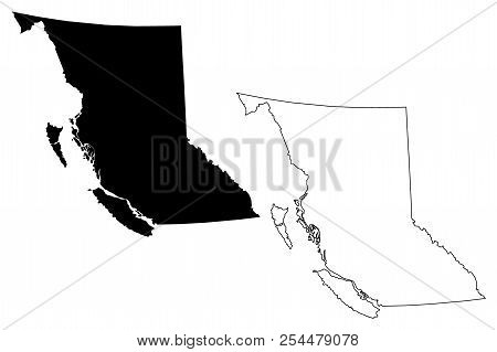 British Columbia (provinces And Territories Of Canada, Bc) Map Vector Illustration, Scribble Sketch