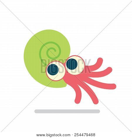 Cute Ammonoid Swimming. Vector Illustration Of Prehistoric Character In Flat Cartoon Style Isolated