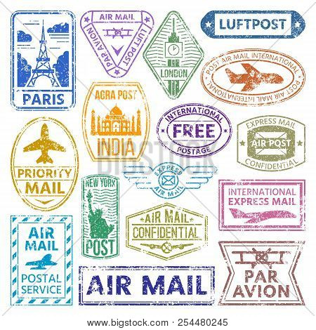 Vector Card Stamps Vintage Postage Countries All Over World Stamp Different Mail Grunge Postmark Ill
