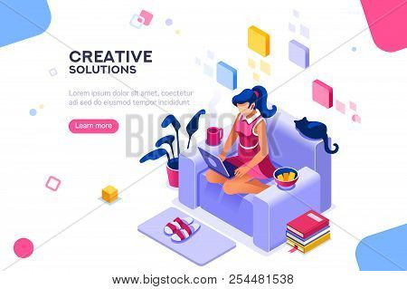 Girl Sitting On The Sofa Works With Laptop, Modern Freelancer Template For Website. Concept With Cha