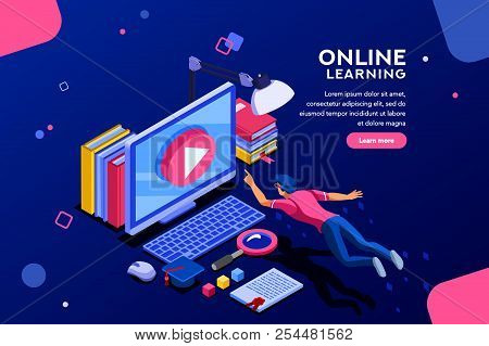Desk Of Class Seminar Or Courses. Online Tutorial Infographic For College Research. Teaching Cap On