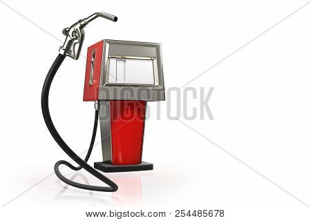 3d Rendering Of The Gas Pistol With A Red Retro Gasoline Dispenser Pumps Isolated On White Backgroun