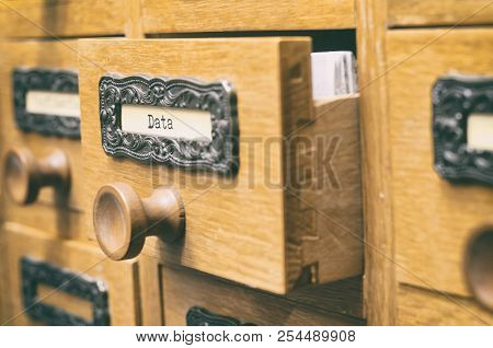The Archives Card Catalog , Old Wooden File Catalog Box, Index , Database, Archive And Library Conce