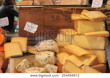 Munich, Germany - 10/15/2016: Cheese Display In Cheese Shop At Victuals Market In Munich Germans Als