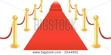 A red carpet and velvet rope with golden brass posts illustration. Representing luxury and v.i.p treatment. poster