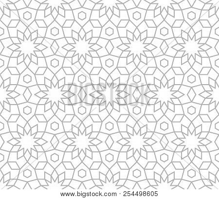 Abstract Geometric Pattern With Crossing Grey Lines On White Background. Seamless Linear Rapport. St