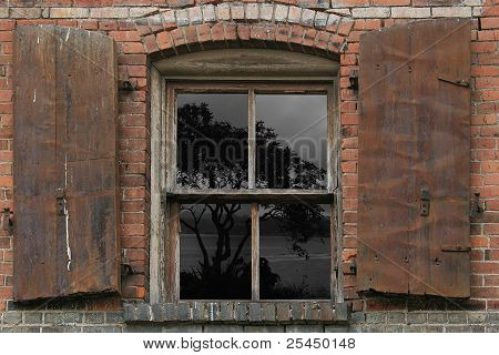 Vintage Window, Iron Shutters
