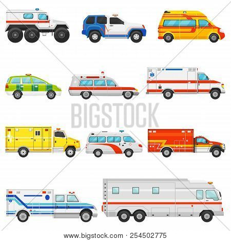Emergency Vehicle Vector Ambulance Transport And Service Truck Illustration Set Of Rescue Cmedical C