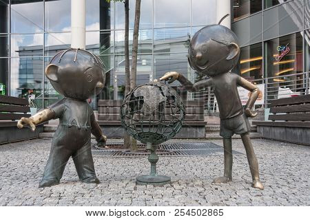 Bielsko-biała, Poland - August 15, 2018: A Monument To The Iconic Figures Of The Polish Animation Of