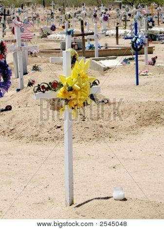 White Cross On Grave