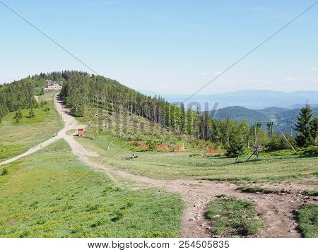 Natural Paths At Klimczok Mount In Silesian Beskids Mountains Range Landscapes Near European City Of
