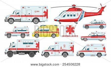 Ambulance Car Vector Emergency Ambulance-service Vehicle Or Van And Medical Care Transport In Hospit