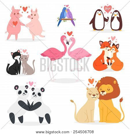 Couple In Love Vector Animal Lovers Characters Panda Or Cat On Loving Date On Valentines Day And Fla