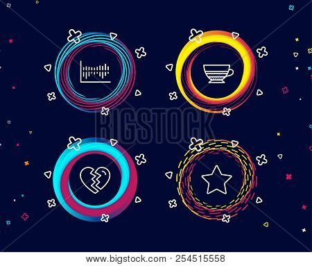 Set Of Break Up, Mocha And Column Diagram Icons. Star Sign. Divorce, Coffee Cup, Sale Statistics. Be