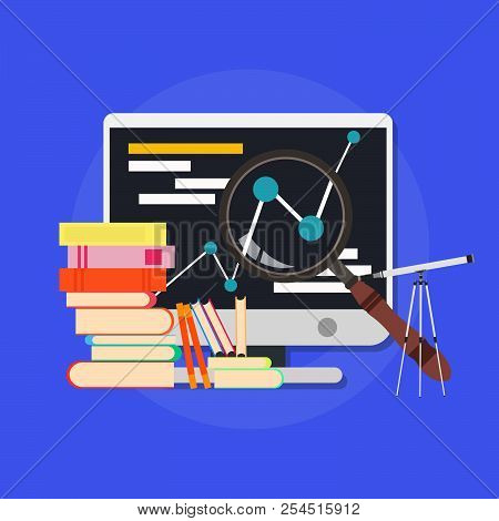 Business College Illustration Education Library Course Online. Teaching People Sign Concept Isolated