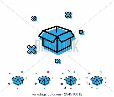 Opened Box Line Icon. Logistics Delivery Sign. Parcels Tracking Symbol. Line Icon With Geometric Ele