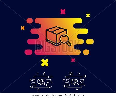 Search Package Line Icon. Delivery Box Sign. Parcel Tracking Symbol. Gradient Banner With Line Icon.