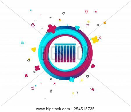 Louvers Vertical Sign Icon. Window Blinds Or Jalousie Symbol. Colorful Button With Icon. Geometric E