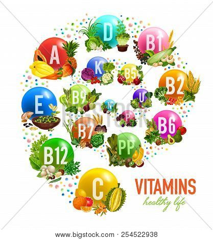 Vitamins In Fruits, Vegetables And Nuts Poster Or Multivitamin Complex. Vector Healthy Vitamins In P