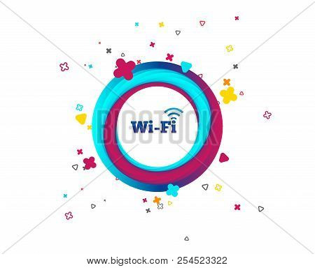 Free Wifi Sign. Wifi Symbol. Wireless Network Icon. Wifi Zone. Colorful Button With Icon. Geometric