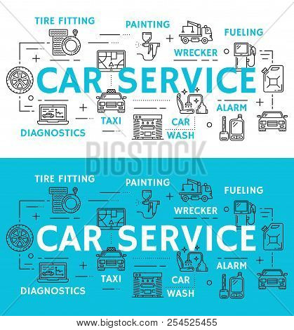 Car Service Icons For Mechanics And Repair Station Or Diagnostics Poster. Vector Thin Line Instrumen