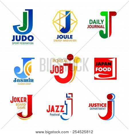 Letter J Icons For Company Design Or Corporate Identity In Sport, Music Or Media Press And Managemen