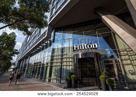 Belgrade, Serbia - August 14, 2018: Hilton Logo On The Entrance Their Newly Opened Hotel Of Belgrade