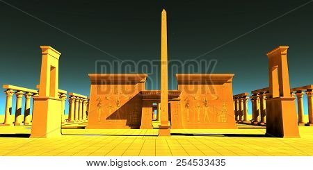 Egyptian Pharaonic Temple 3d Illustration - A Tall Obelisk Towers In Front Of A Temple To Honor The