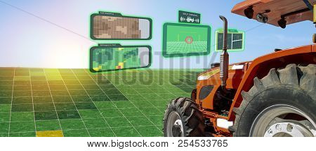 Iot Smart Industry Robot 4.0 Agriculture Concept,industrial Agronomist,farmer Using Autonomous Tract
