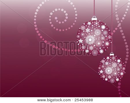 Christmas card with snowflake balls
