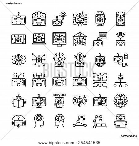 Android Robot Outline Icons Perfect Pixel. Use For Website, Template,package, Platform. Concept Busi