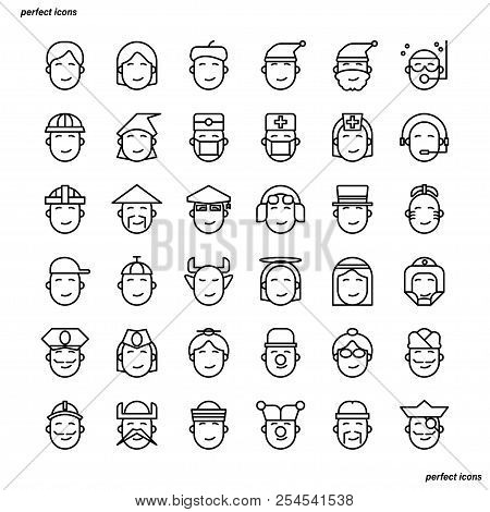 Avatar Outline Icons Perfect Pixel. Use For Website, Template,package, Platform. Concept Business Ob