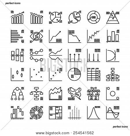 Charts Diagrams Outline Icons Perfect Pixel. Use For Website, Template,package, Platform. Concept Bu