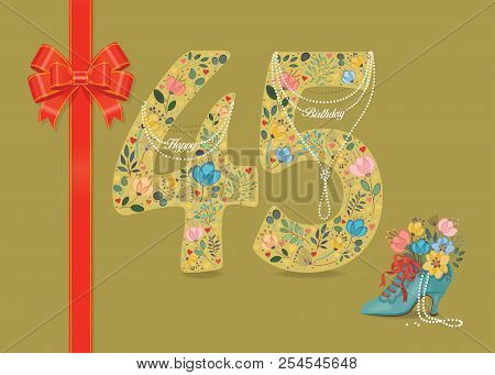 Yellow Number Forty Five With Folk Floral Decor. Pearl Collar With Texts As Pendants - Happy Birthda