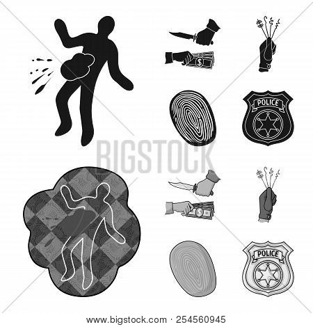 Robbery Attack, Fingerprint, Police Officer Badge, Pickpockets.crime Set Collection Icons In Black,